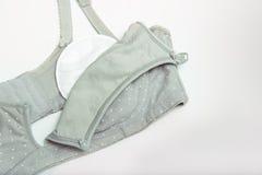 母亲和硅乳头的护理胸罩 与新的一次性乳房垫的妈妈胸罩 防止流程在衣裳的牛奶,它 免版税库存照片
