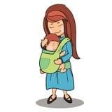 母亲和婴孩传染媒介漫画人物 库存照片
