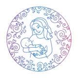 母亲和婴孩在圆的框架里面 免版税图库摄影