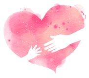 母亲和baby& x27剪影; 在桃红色心脏,水彩的s手 图库摄影