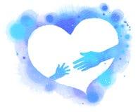 母亲和baby& x27剪影; 在蓝色心脏,水彩的s手 库存例证
