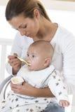 母亲哺养的婴儿食品 库存图片