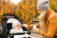 母亲喂养从匙子的九个月的男婴 免版税库存图片