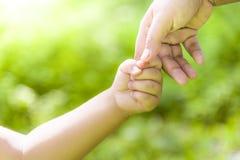 母亲握有男孩男孩的手狂放的 手拉手今后走 免版税库存照片