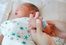 母亲的举行的婴孩手的关闭 爱和家庭的概念 免版税库存照片