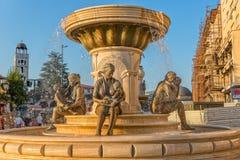 母亲的喷泉在斯科普里 库存照片