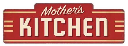 母亲的妈妈厨房标志匾吃饭的客人装饰厨师 免版税库存照片