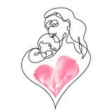 母亲的简单的抱着她的婴孩的线艺术 免版税库存照片