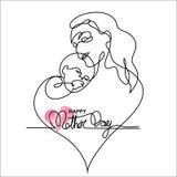 母亲的简单的抱着她的婴孩的线艺术 库存图片