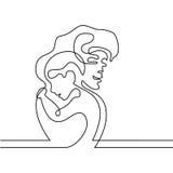 母亲的简单的抱着她的婴孩的线艺术 库存照片