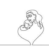 母亲的简单的抱着她的婴孩的线艺术 免版税库存图片