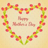 母亲的贺卡's天 在平的设计的郁金香花束 库存照片