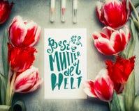 母亲节与文本字法的贺卡用德语Beste嘟囔der鞭痕 免版税库存图片