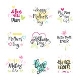母亲节套创造性的商标隔绝了假日贺卡字法 图库摄影