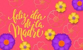 母亲节用与黄色,蓝色花在金开花的样式横幅和西班牙文本Feliz dia de la Madre的西班牙语 设计tem 库存照片