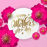 母亲节红色花纹花样贺卡和金子发短信 导航母亲节假日desig的花卉桃红色和红色背景 库存图片