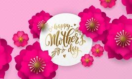 母亲节红色花纹花样贺卡和金子在花卉桃红色和红色背景发短信为母亲节假日 免版税库存图片