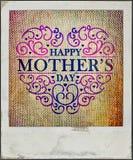 母亲节葡萄酒卡片 免版税库存图片