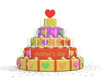 母亲节蛋糕的例证 免版税库存图片