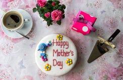 母亲节蛋糕设置 免版税库存照片