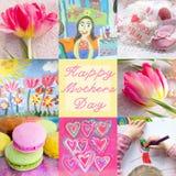 母亲节贺卡 与郁金香,孩子的欢乐拼贴画绘了画,工艺品玩具,心脏,蛋白杏仁饼干 免版税库存照片