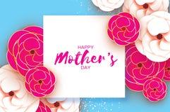 母亲节贺卡 日s妇女 纸被切开的桃红色金花 Origami美丽的花束 方形框架 文本 库存图片