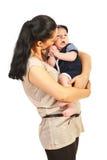 母亲谈话与小儿子 免版税库存照片