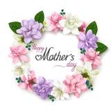 母亲` s天与现实花花圈的贺卡在白色背景 免版税图库摄影