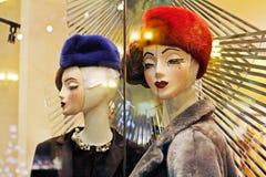 母时装模特在胶时尚商店在莫斯科 免版税库存图片