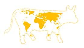 母牛剪影黄色 图库摄影