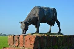 母牛小雕象在Koepon奶牛场的入口的在Garnwerd 图库摄影
