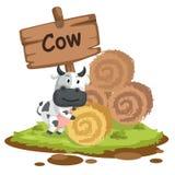 母牛的动物字母表信件C 图库摄影