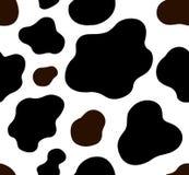 母牛纹理样式重复了无缝的棕色黑白乳汁巧克力动物密林印刷品斑点皮肤毛皮牛奶天 向量例证