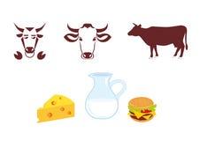 母牛象和奶制品 库存照片