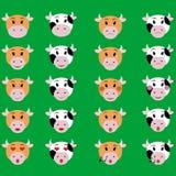 母牛面孔情感象例证套emoji标志 免版税库存图片