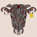 母牛头与抽象裁减的 免版税库存图片