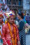 母牛GaijatraThe节日的女孩  免版税图库摄影