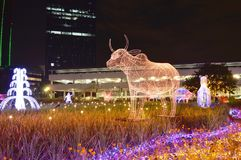 母牛LED光展示一个在泰国照明节日的中国黄道带2017年 库存图片