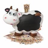 母牛Piggybank被隔绝的50张欧洲钞票 库存图片