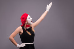 母笑剧画象在红色头和与白色 免版税库存图片