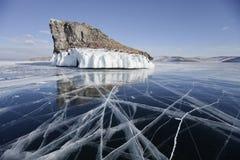 母马` s头海角,贝加尔湖, Olkhon海岛 33c 1月横向俄国温度ural冬天 库存照片
