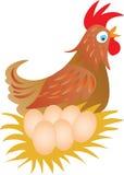母鸡和六个鸡蛋 图库摄影
