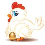母鸡用金黄鸡蛋 免版税库存照片