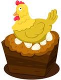 母鸡用鸡蛋 免版税库存图片