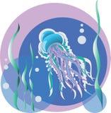 水母 也corel凹道例证向量 海里的风景、水母和海藻 库存照片