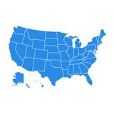 每个国家的高细节美国地图 在平的样式的美利坚合众国地图 蓝色美国美国联邦政府地图 皇族释放例证