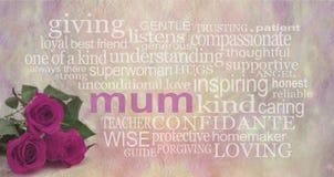 每个妈咪的美好的词 图库摄影
