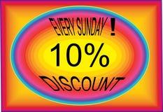 每个星期天折扣10% collorfull商标按钮象图象 皇族释放例证