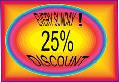 每个星期天提议25% multidesing的商标按钮象图象 向量例证
