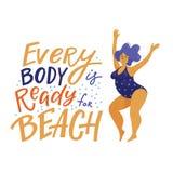 每个身体准备好海滩横幅海报设计 库存图片